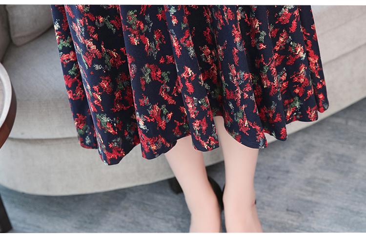 Autumn Winter New 3XL Plus Size Vintage Midi Dresses 2018 Women Elegant Bodycon Floral Dress Party Long Sleeve Runway Vestidos 49