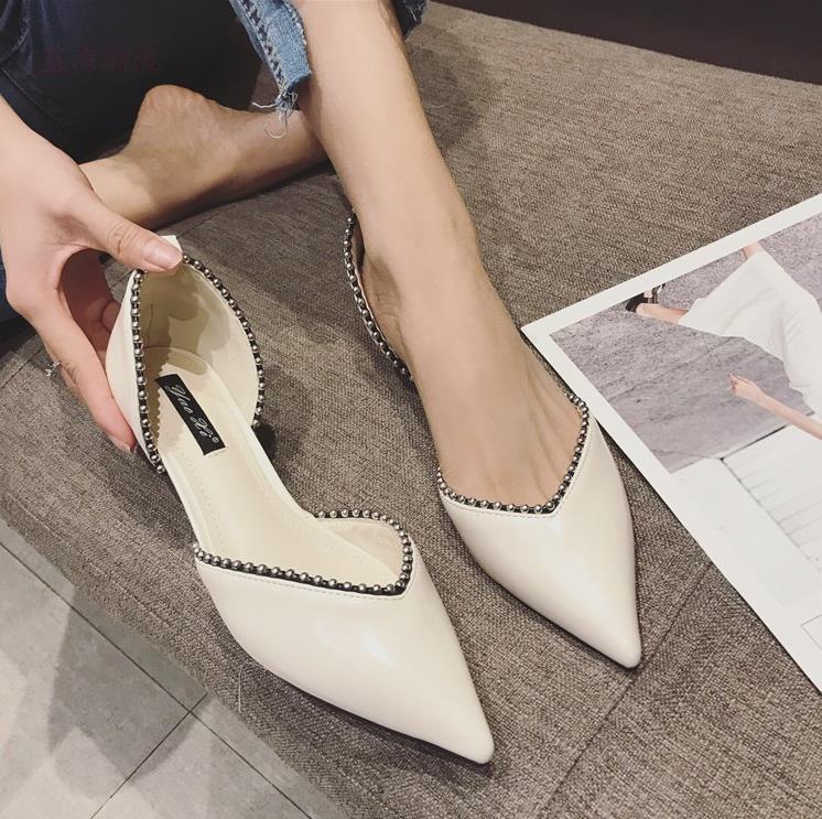 Goût Air Fine 3 Hong Version Côté Mode Chaussures Beige Cent De Simples 2018 Femmes Coréenne Avec Kong noir Cm Nouveau Chic Marée Pointu Un TP8Onx