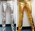 2016 новый певец dj снизу костюм плюс размер PU кожа тонкая золото серебро кожаные штаны сценическое шоу одежда брюки производительность