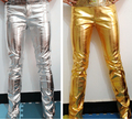 2016 new male singer dj bottom costume plus size PU leather slim gold silver leather pants stage show wear trousers performance