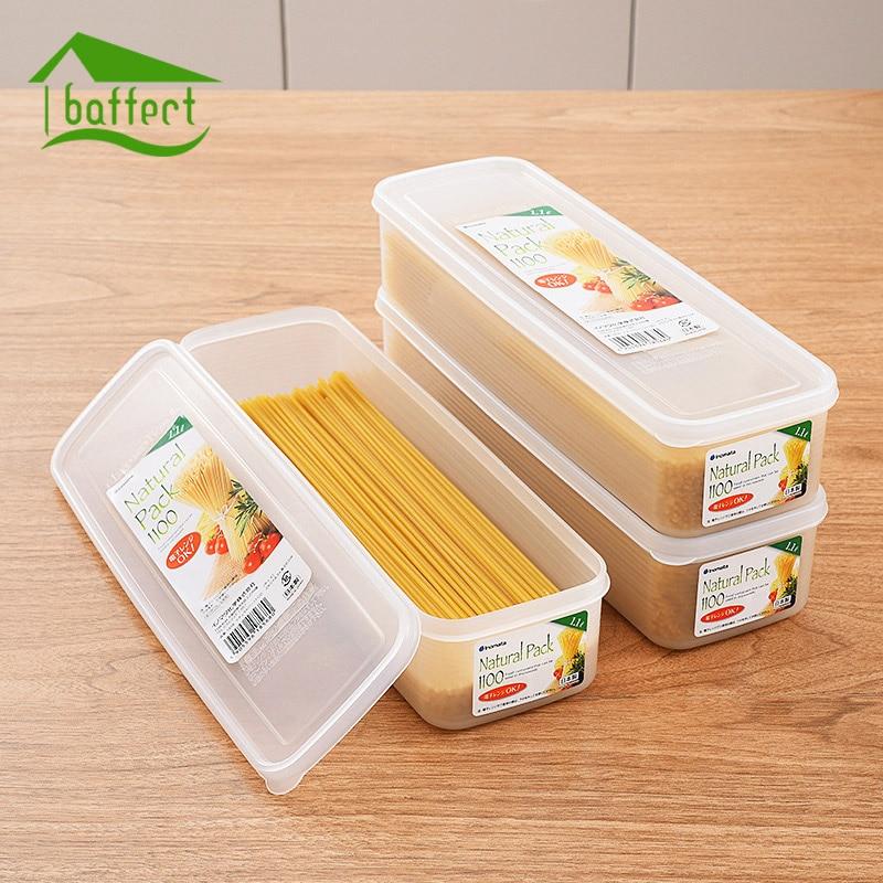 Noodles Storage Box Single Layer Refrigerator Food Airtight Storage Container Box Plastic Household Kitchen Cereal Crisper Box