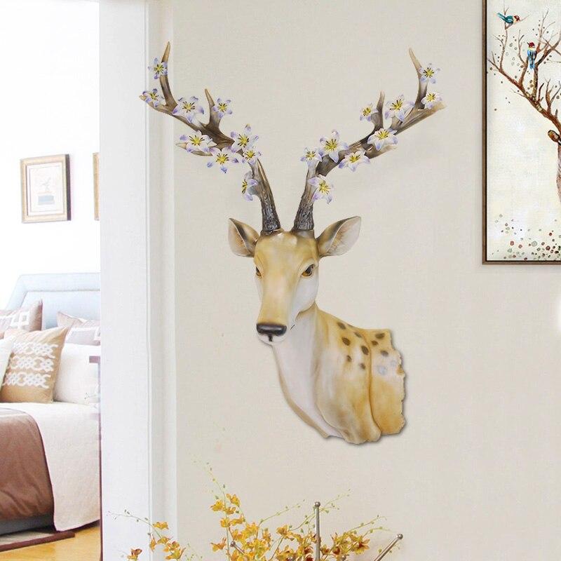 Pays américain chanceux cerf tête mur rétro bar chambre mur décoration maison décoration accessoires statue sculpture jardin chaud