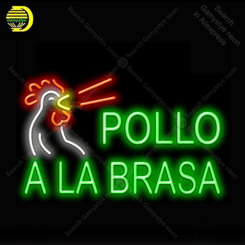 Pollo A La Brasa enseigne néon Tube de verre ampoule néon enseigne décor magasin alimentaire café néon panneau enseigne lampe anuncio luminoso Atarii