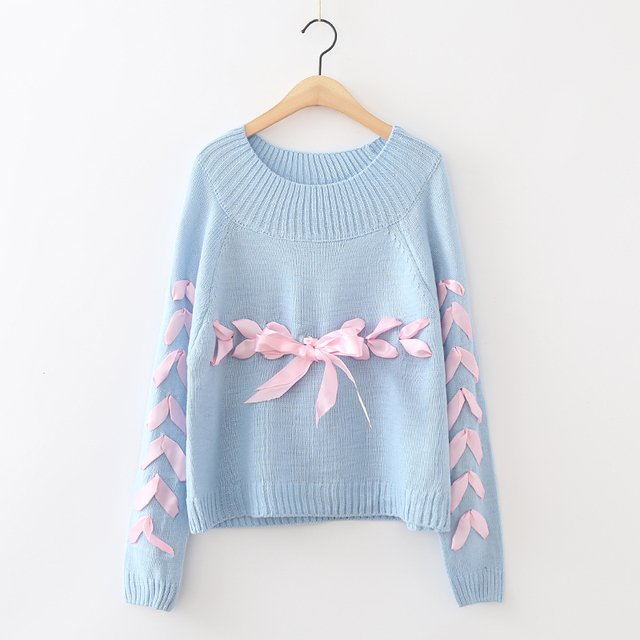 Harajuku Women Bow Ribbon Sweater Young Woman Loose Soft Knitting Sweaters  Jumpers Teenager Female Christma Sweater Clothes 340f88dbd