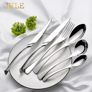 Silverware Kaya Luxury Cutlery Set Stainless Steel Dinner Knife Fork Tablespoon Dinnerware Set Service 6 Western Tableware Tools