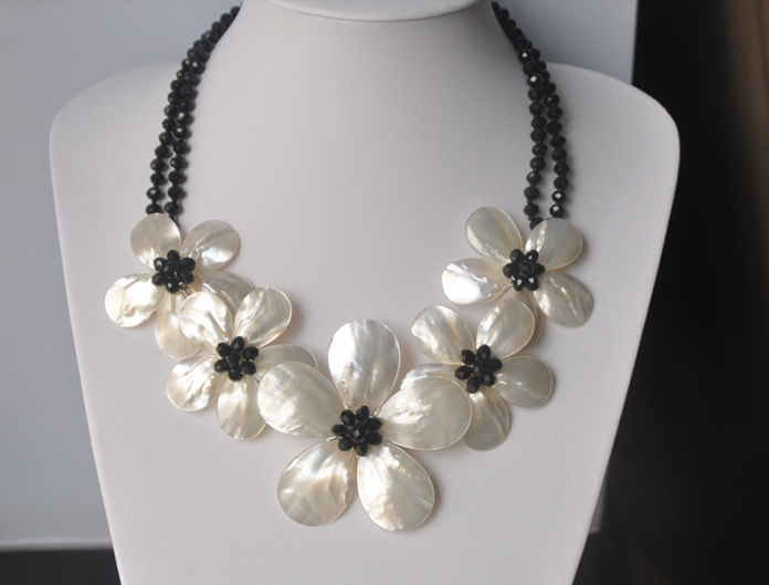 Bijoux de femme de mariage Bling noir cristal perle collier ras du cou Double chaîne exagérer à la main jolie fleur livraison gratuite