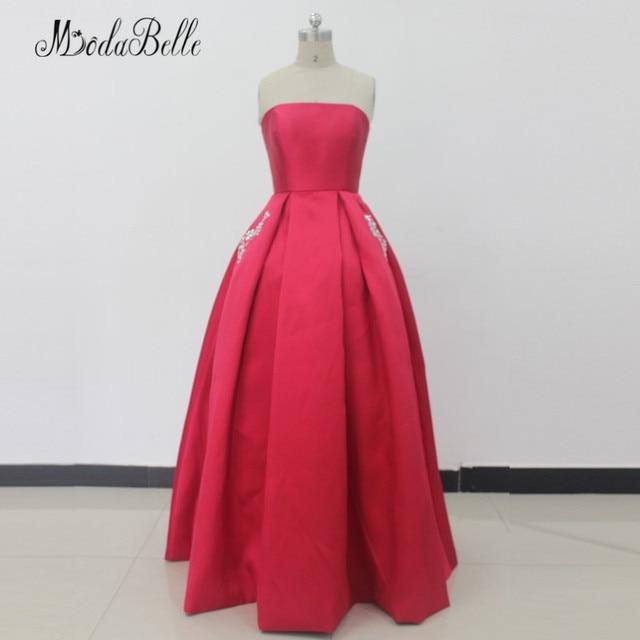911077be6db5b modabelle 2018 Red Prom Dress Strapless Satin Floor Length Vestidos Festas  Luxo Vintage Beaded Pocket Evening Gowns