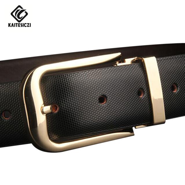 [KAITESICZI] cinturón de cuero hebilla de correa de cuero de Los Hombres 100% puro salvaje boutique de la correa de la marca de moda casual cinturón