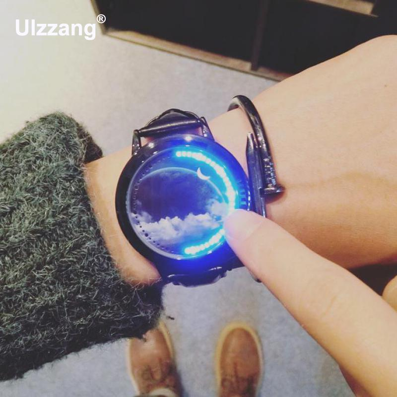 Fashion Stylish Touch Dial Sky Cloud Stars LED Analog Wristwatches Wrist Watch For Men Boy Women Girls Young Black