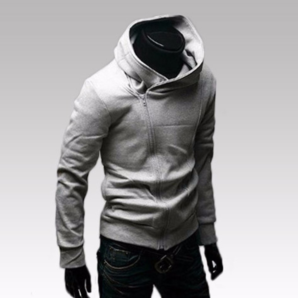 Casual Solid Mens Hoodies Men Sweatshirt Autumn Slim Fit Male Hooded Tracksuit Korean Style Cotton Pullover Long Sleeve Zipper