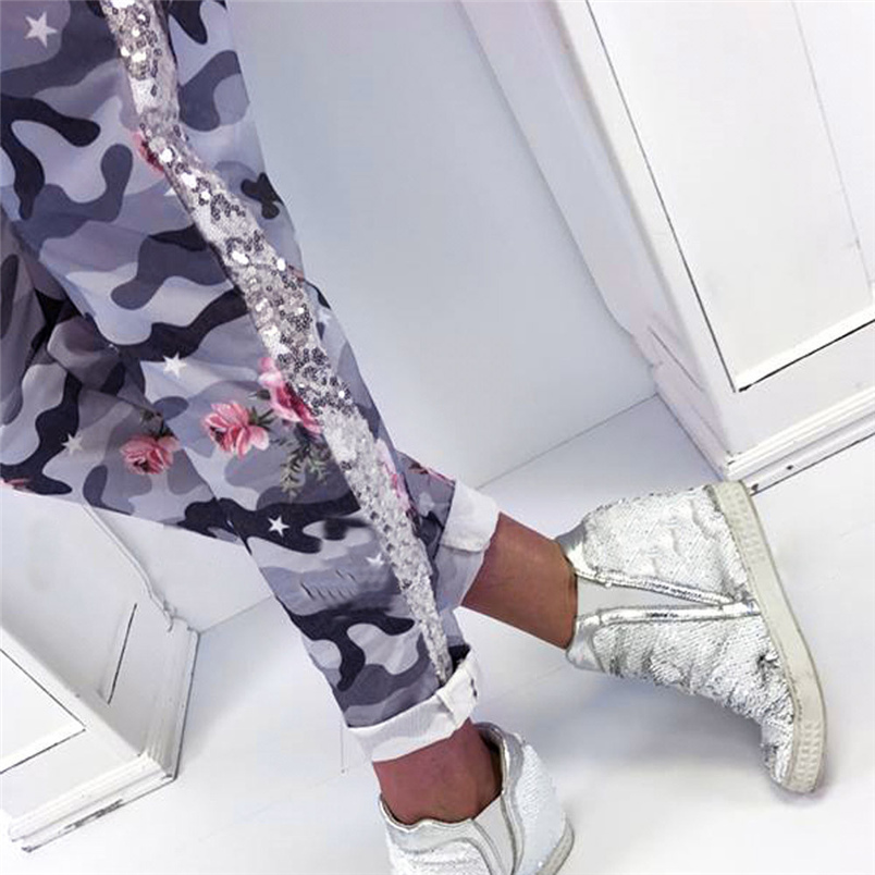 Fashion Womens Pants 2018 New Arrival Comfortable Sequins Camouflage Print Bandage Patchwork Mid Waist Long Pants Trousers F#J12 (13)