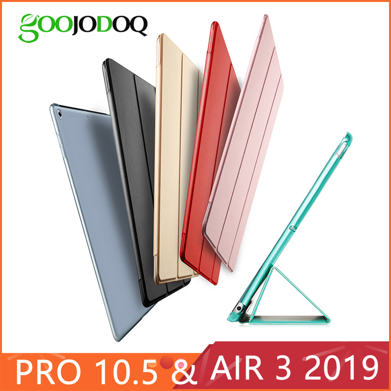 For iPad Pro 10.5 Case 2017/iPad Air 2019 Case, PU Leather Transparent PC Hard Back Smart