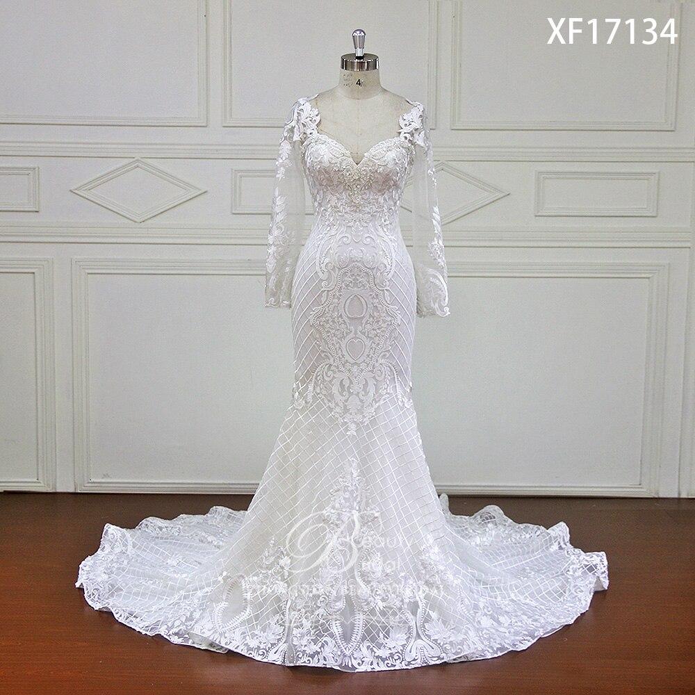 Elegant Mermaid Wedding Dresses 2018 Long Sleeve Lace Appliques Beads Court  Train Bridal Gowns Vestido de Noiva XF17134 b36091792340