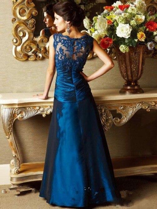 Новые изящные трапециевидные кружевные платья в пол с v-образным вырезом без рукавов для матери невесты Vestidos Madre De La Novia - Цвет: Синий
