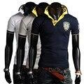 Новый летняя мода вышивка дизайнер slim fit с коротким рукавом polo рубашки мужские поло бесплатная доставка CYJ918