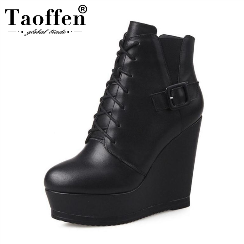 Taoffen Women Real Leather Wedge Boots Winter Warm Fur Women's Shoes Lace Up Ankle Boots Sexy Platform Footwear Size 34 39