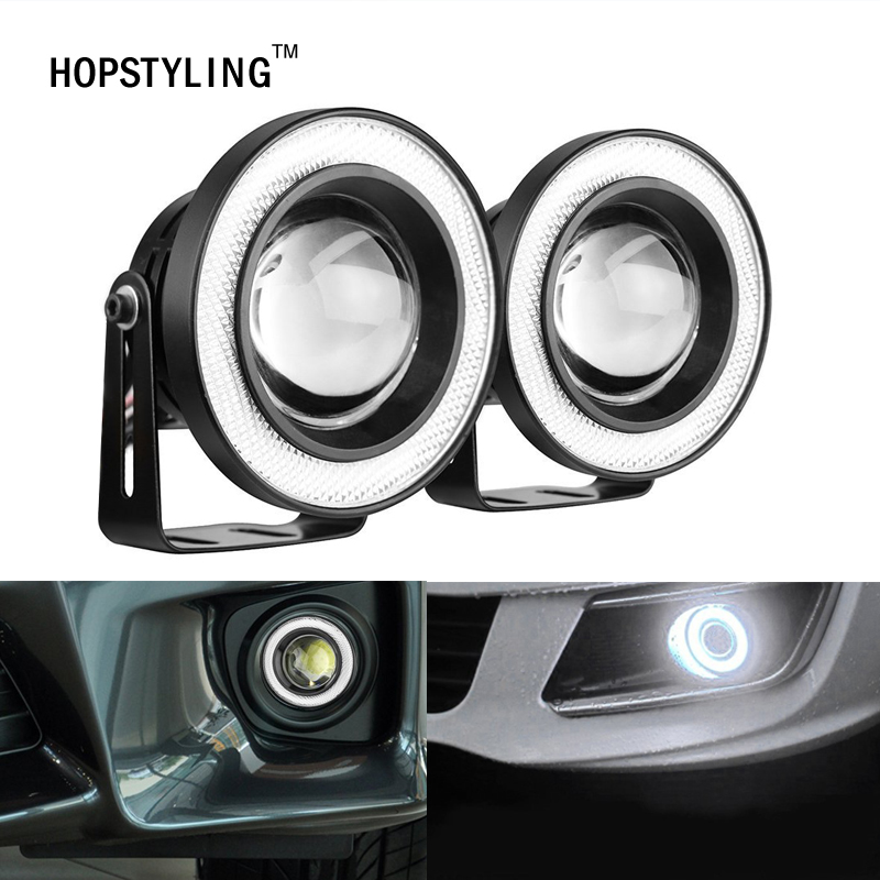 HOPSTYLING 2pcs/lot 3.5inch 89mm Halo Fog Lamp LED COB Angel Eyes Foglight Super White 3200Lm Daytime Running Light Car DRL merdia 10w 700lm 6000k cob eagle eyes white light foglight for motorcycle