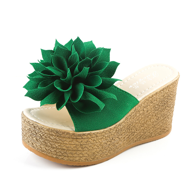 Summer 2018 Women Slippers Slides Flat Platform Wedges Elegant Cloth Flowers Sexy Fashion Plus Size Female Open-toed Slippers