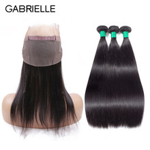 Gabrielle Brazilian Straight Hair Bundles with 360 Lace Frontal with Baby Hair Natural Color 100% non-remy Human Hair Extensions(China)