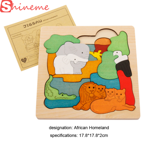Funny wooden 3D Puzzle early children educational toys multilayer cartoon animal puzzle  for baby girls boys gift on piece children s early childhood educational toys the bear change clothes play toys creative wooden jigsaw puzzle girls toys