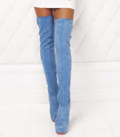 Talons Slim Mince Chaussures Nouveau Femme Picture the genou forme Bleu De As Mode Plate Jeans Daim Femmes À Cuissardes Over Bottes Hauts Sexy wqg64