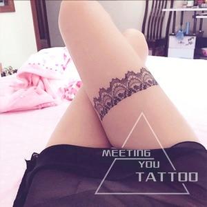 Seks czarne uda/nogi koronkowe tatuaż motylkowy węzeł tymczasowe naklejki z tatuażami dziewczęta i kobiety piękny element ubioru tatuaż