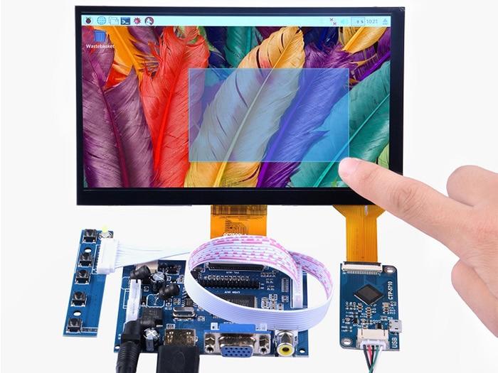 7 pouce 1024x600 Haute Résolution Écran + 7 pouce Tactile Capacitif Panneau + HDMI/VGA/S-vidéo carte de conducteur DIY kits pour Raspberry Pi