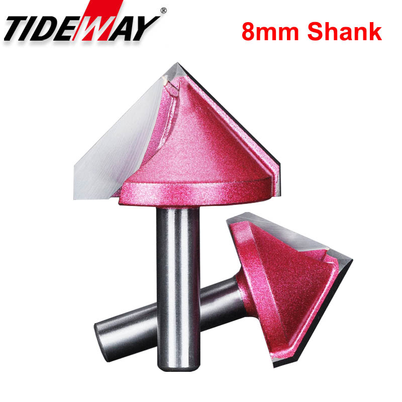 Tideway 8mm Shank V Bit CNC Mill Cutters Router Bits For Wood Tungsten Woodworking Carbide Milling Cutter Tools 60 90 120 Deg