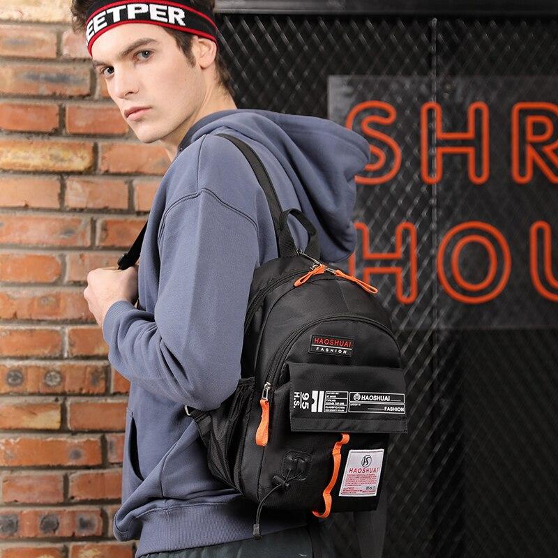 Haoshuai Transform Backpack Men Hiphop Design Back Packs Anti-theft Superior Pack Super cool different distinctive New design