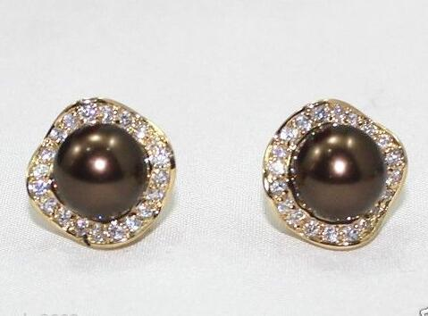 PRETTY 10 MM LOW ROUND SOUTH SEA SHELL PEARL CRYSTAL 14 GP OF MARRIAGE EARRINGS