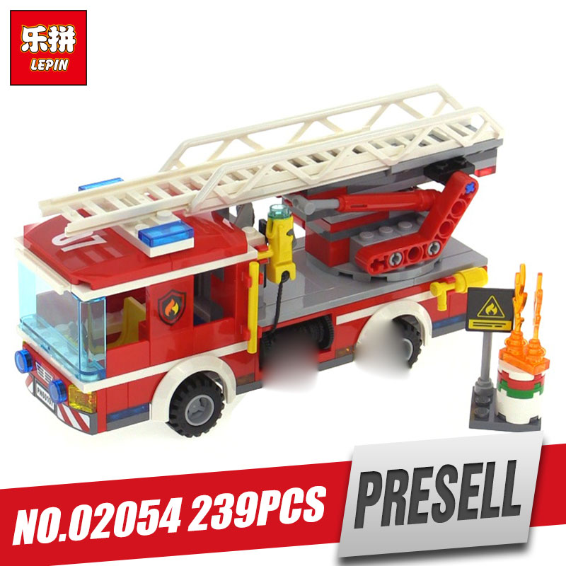 Lepin 02054 Genuine 239Pcs City Series The Fire Ladder Truck Set 60107 Building Blocks Bricks Educational Toys As Gift Model 380pcs fire branch city enlighten bricks toy for children ladder truck building blocks fire fighter figures boys gift k0411 910
