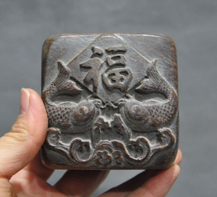 Old China Chinese Dynasty Bamboo Root Pure Hand-Carved FishSeal Stamp Signet