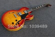 Freies shippingtobacco luxus-hochglänzend F-Loch jaz hollow body mit rot tortoise schlagbrett gold hardware OEM E-gitarre!