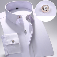 Bamboo Fiber Men S Dress Shirt Male Spring Autumn Long Sleeve Solid Formal Business Men Social
