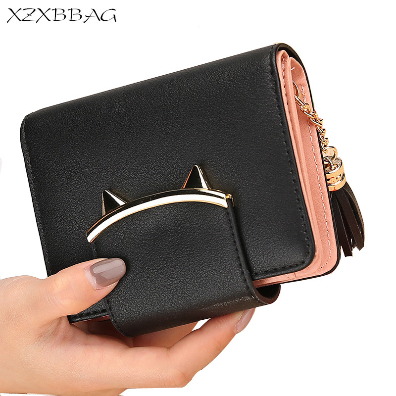 XZXBBAG Cute Cat Ear PU Leather Short Wallets Women Trifold Coin Purse Female Card Holder Dollar