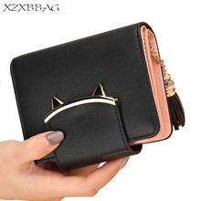 XZXBBAG Cute Cat Ear PU Leather Short Wallets Women Trifold Coin Purse Female Card Holder Dollar Money Bag Small Clutch XB101