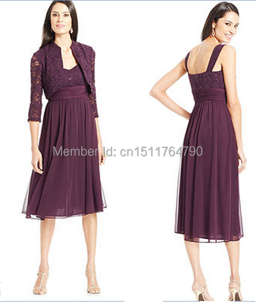 7e187ccd15a 2014 R M Richards Elegant Sequin Lace Chiffon Plus Size Mom s Dress Tea  Length Purple Mother Of the Bride Dresses with jacket