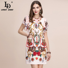 LD LINDA DELLA Summer Autumn Fashion Runway Elegant Dress Womens Ruffles Sleeve Pocket Flower Beading Printed Vintage
