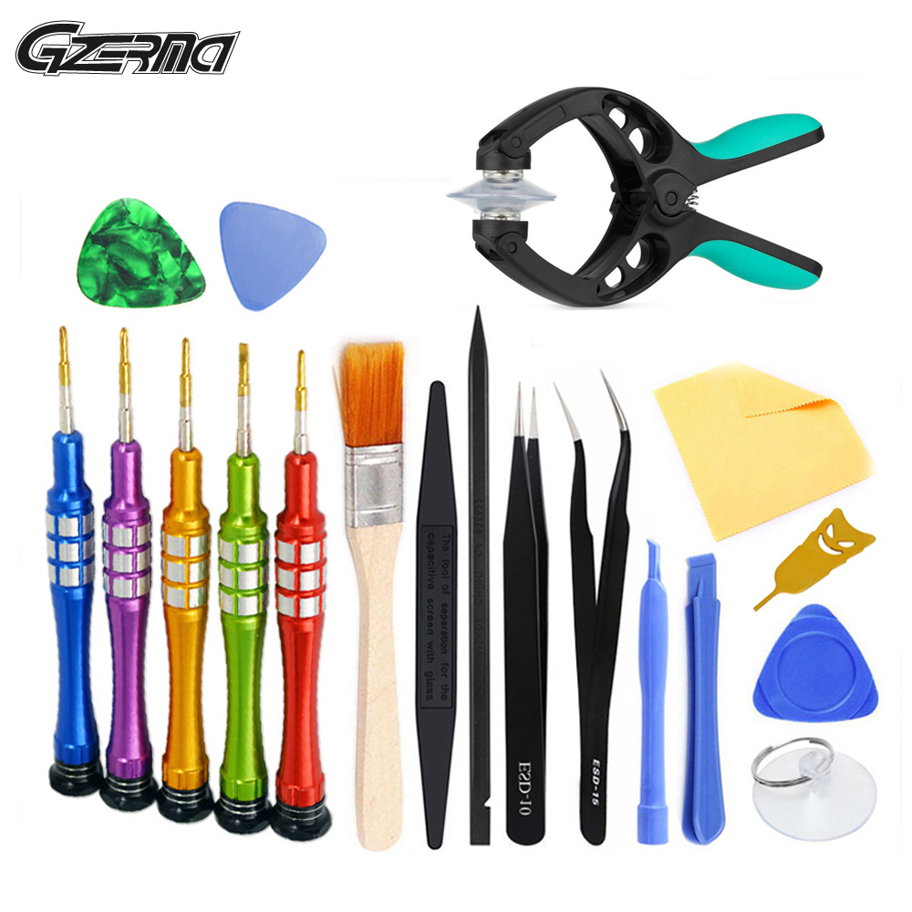 20 In 1 Disassemble Pry Metal Screwdriver Set Anti-static Brush Mobile Phone Repair Tool Kit For IPhone Android Cell Phone