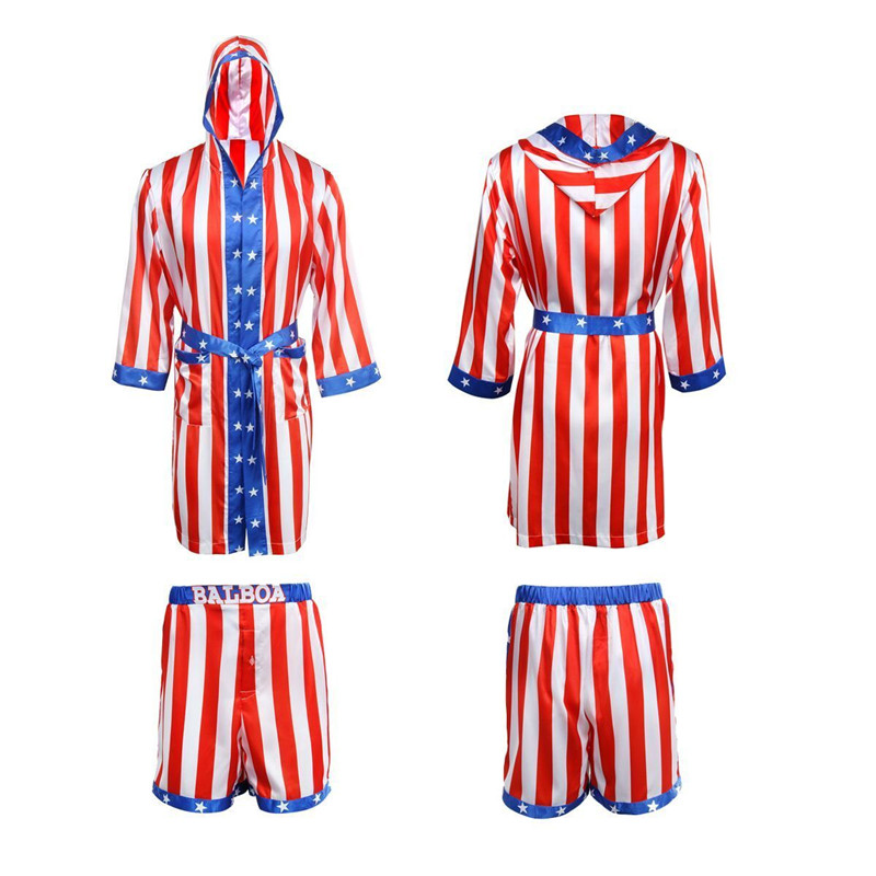 Takerlama Rocky Balboa Apollo Movie Boxing Ameriška zastava Cosplay Kratke hlače Robe Boxing Costume Robe in kratke hlače