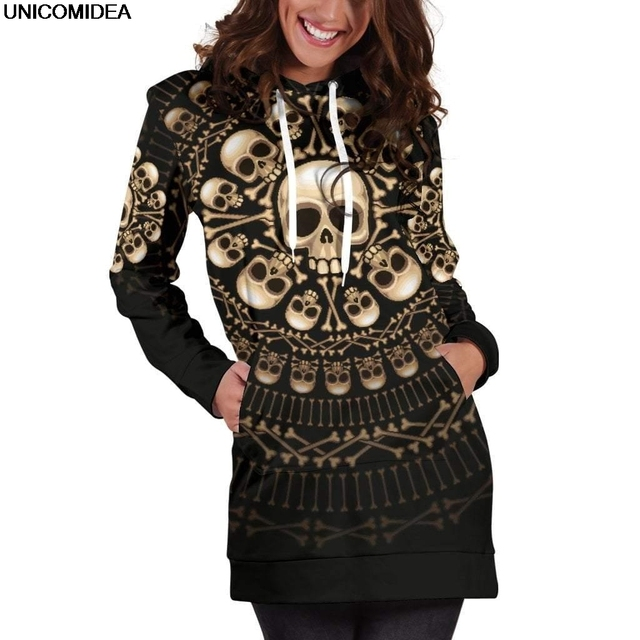 Skulls & Bones Hoodie Dress 3D Bodycon Mini Women Dress Hoodies Sweatshirt Dress Autumn Femme Hooded Vestido de festa Jurken 3XL
