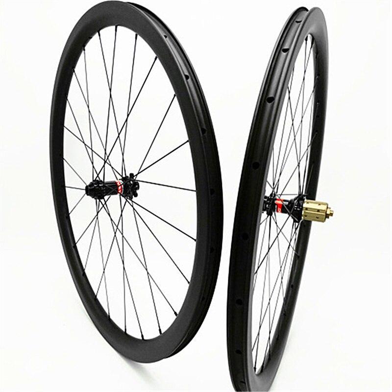 Roue de bicyclette 700c roues 38mm carbone roue D411 412SB Disque de frein 24 28 H XD hub 1580g de carbone roues 700c pneu tubeless