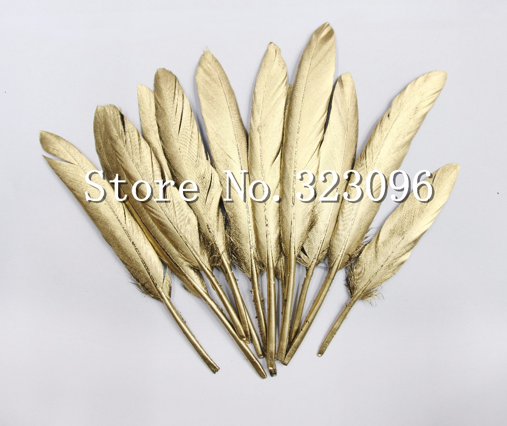 New Free shipping 100pcsBeautiful Gold Painting Goose Feather 4-6 Inches 10-15 cm Wedding, Party ,Home ,Hairs DIY Decoration