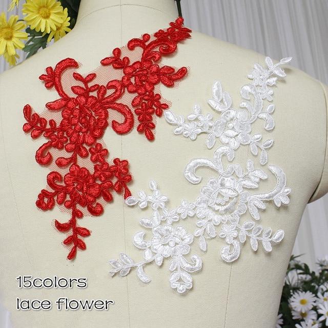 15 cores Vermelho Preto Azul Branco Lantejoulas Carro-osso Vestido de Noiva Applique DIY Remendo Do Laço de Noiva Acessórios Para o Cabelo Rendas flor 4 Peças