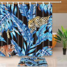 Animals Wallpaper Decor Tiger and Leopard in Trendy Blue Tropical Leaves Waterproof Polyester Fabric Shower Curtain Set Doormat(China)