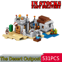 Lepin My World Minecraft 18019 531pcs The Desert Outpost Action Anime Figures Building Kits Blocks Bricks