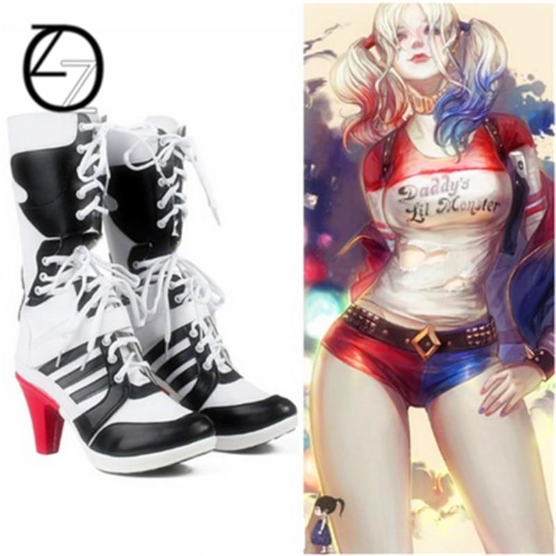 2017 Harley quinn costume cosplay suicide squad suicide squad accessori donne nere per harley scarpe harley quinn stivali boot