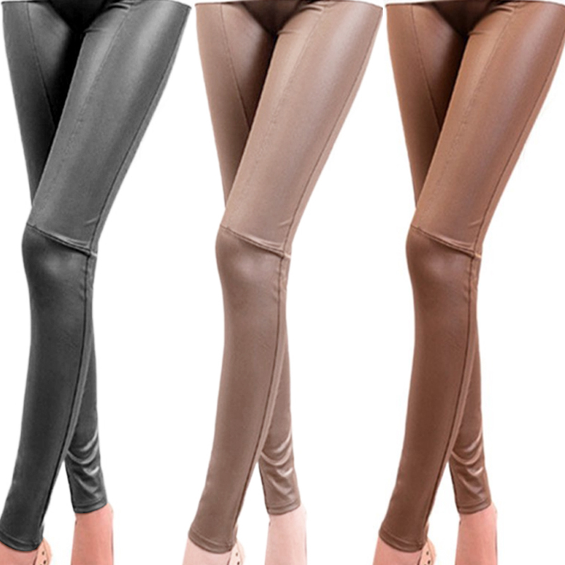 Fashion Spring/Autumn Leggings Women High Waist Leggings Stretchy PU Leather Trousers Slim Pencil Pants Slim Pencil Pants Splice