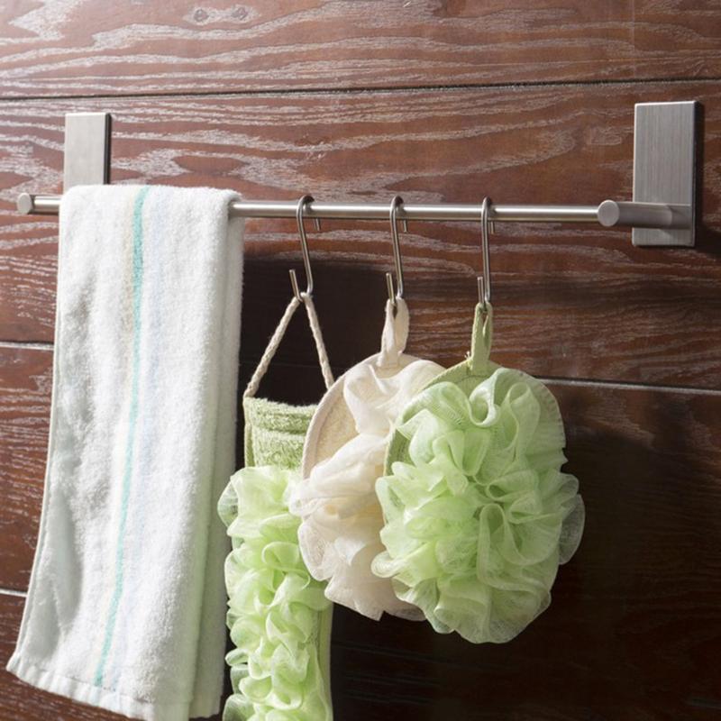 Towel Rack Kitchen Cupboard Hanging Wash Cloth Organizer Stainless Steel Holder Wardrobe Cabinet Storage Rack Bathroom Shelves