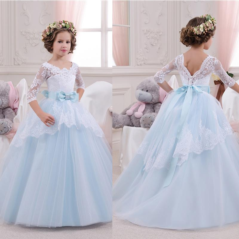 Princess Blue and White Lace Flower Girl Dresses 2017 Cheap Plus Size Half Sleeve Ball Gown Child First Communion Dresses